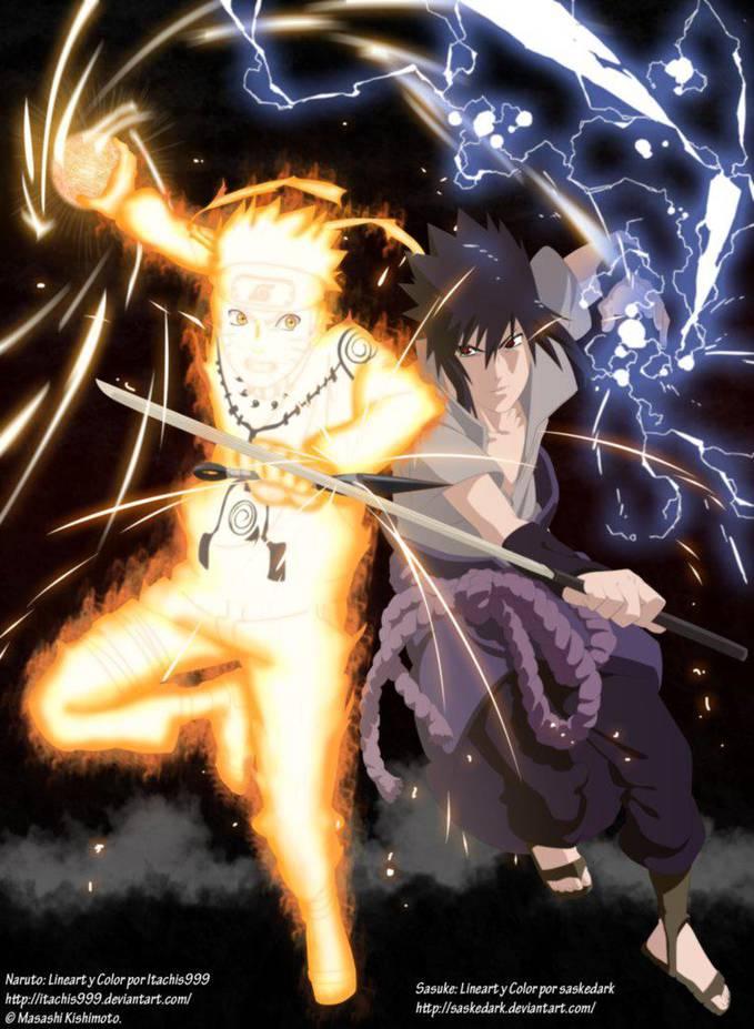 Naruto (Bijuu Mode) Atau Sasuke (Eternal Mangekyou Sharingan) ? WOW dong >,