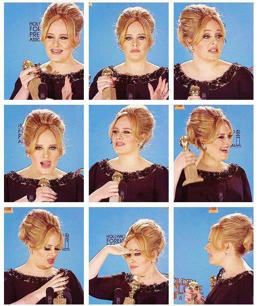 Lucu Ya ! :) Adele At Golden Globe Award :) Pemenang dalam Nomin Best Original Song SKYFALL