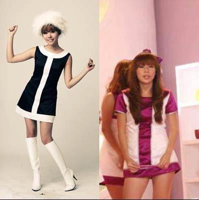 ada yang bilang orang Korea bajunya gak sopan, kebuka. Nah, tuh si cebok, udah plagiat, dressnya malah lebih pendek.. -_-