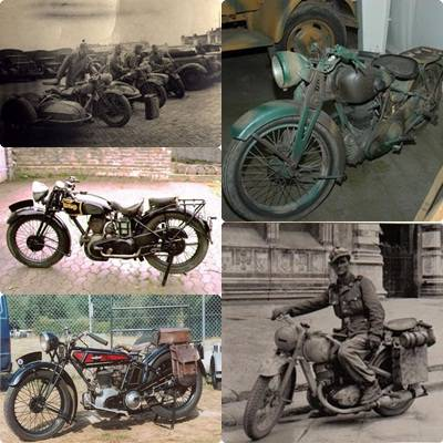 berbagai jenis sepeda motor yang digunakan pada zaman perang dunia II. masih jadul ya o.O