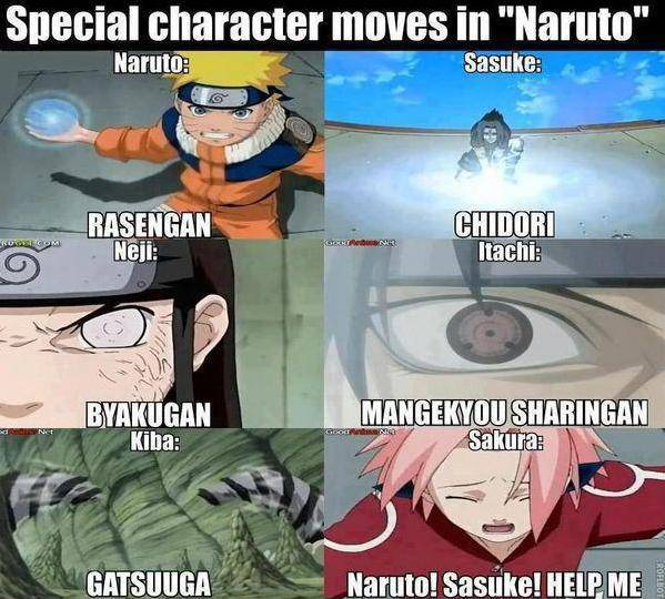 WOW .. Naruto = rasengan Sasuke= chidori neji=byakugan itachi=mangekyou sharingan kiba=gatsuuga sakura = ??