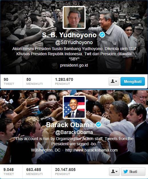 ada persamaan di akun twitter @SBYudhoyono dan @BarackObama Avatarnya sama-sama Foto sendiri dan Sampul sama-sama sedang bersalaman dengan rakyatnya...