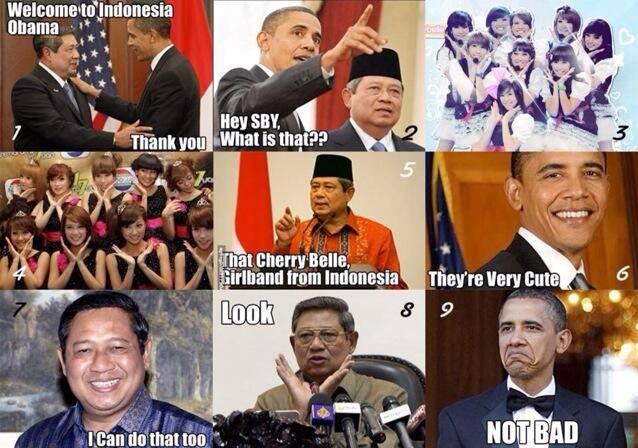 Pak SBY suka sama GirlBand CherryBelle.,., sampai-sampai Pak SBY menirukan gayanya CherryBelle.... Chibi..... chibi.... ha ha ha ha ha.............. :) :) mana WOW nya Twibi/Twiboy... (y)