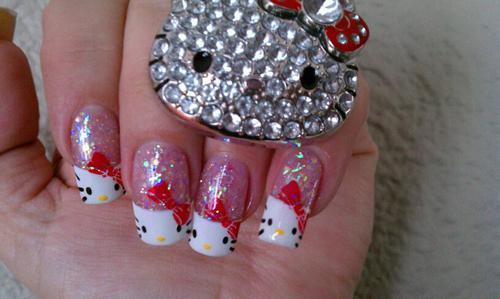 WOW! Hello Kitty Nail Art! So Cutie... ^_^