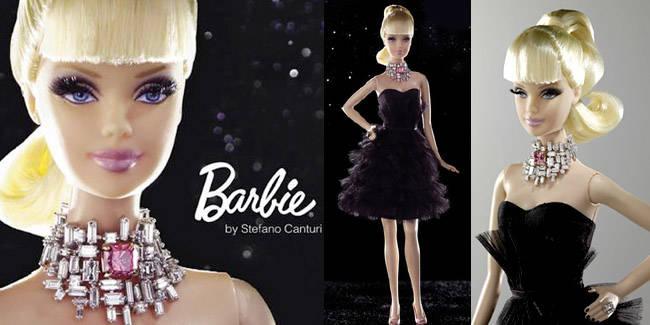 barbie termahal didunia seharga 6 milyar / $600.000 yg diciptakan oleh stefano canturi . dengan dress yg selutut