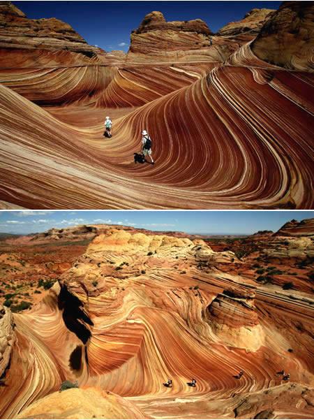"Batuan merah yang menarik perhatian di perbatasan Arizona-Utah. ""The Wave"" terbentuk 190 juta tahun yang lalu dari sebuah sand dune yang menjadi batuan. Formasi batuan hanya dapat diakses melalui 3 mil pendakian kaki dan diatur secara ketat."