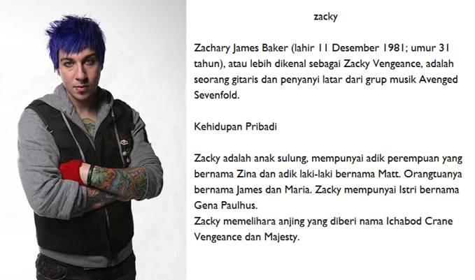 """lanjut lagi ya...:D .nah ini namanya zacky pemain gitar kidal di grup """"Avenged Sevenfold""""Klik WOW ya :D"""