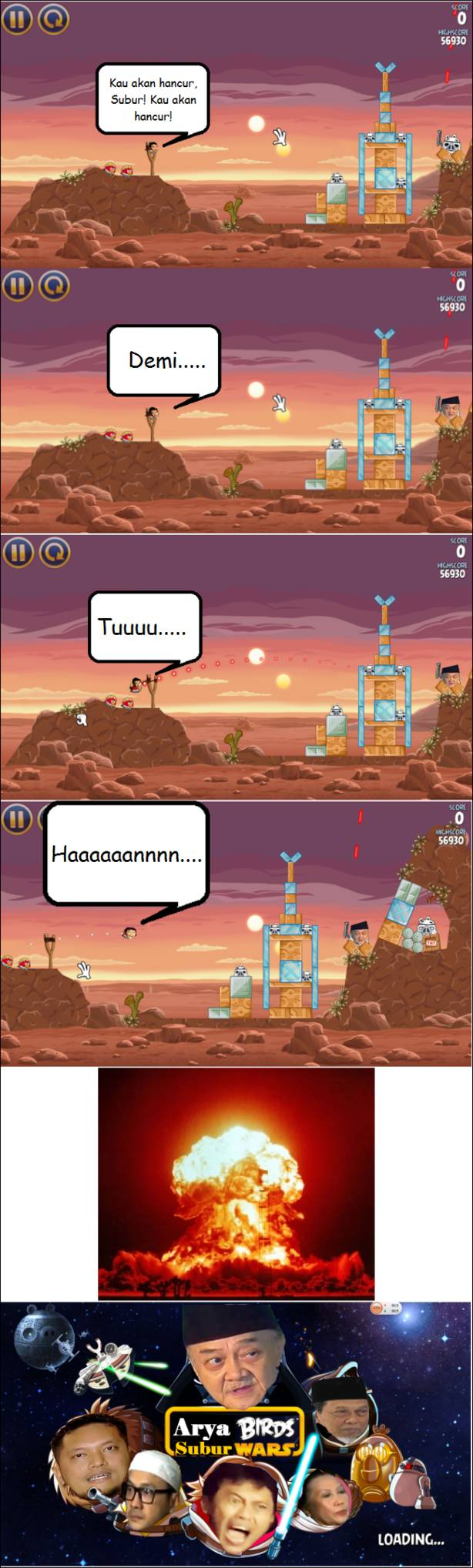 Arya Wiguna ngamuk versi Angry Bird, never coming (karna coming soon udah terlalu maintstream)
