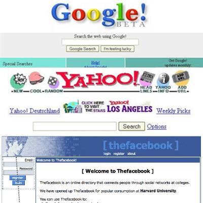 inilah tampilan jadul google,yahoo,dan facebook..:D wow nya kk.,