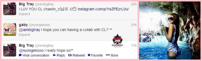 [Twitter] 130424 G-Funk Rapper Big Tray love CL ^o^)/ Diakun twitter+instanya kemaren big Tray mengungkapkan ia menyukai CL dan ingin berkolaborasi dengan CL ^^ FYI Big Tray adalah seorang rapper underground~