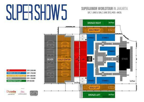 Untuk para ELF, ini dia desain Panggung SS5JKT juni mendatang. Ticket price and seat plan for Super Show 5 Jakarta VIP: Rp 2.200.000 Stand: Rp 1.750.000 Gold: Rp 1.600.000 Silver: Rp 1.150.000 Bronze: Rp 550.000 Cr: Dyandr