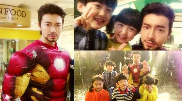 Donghae berkumis dengan kostum Iron Man..... Mana wownx????