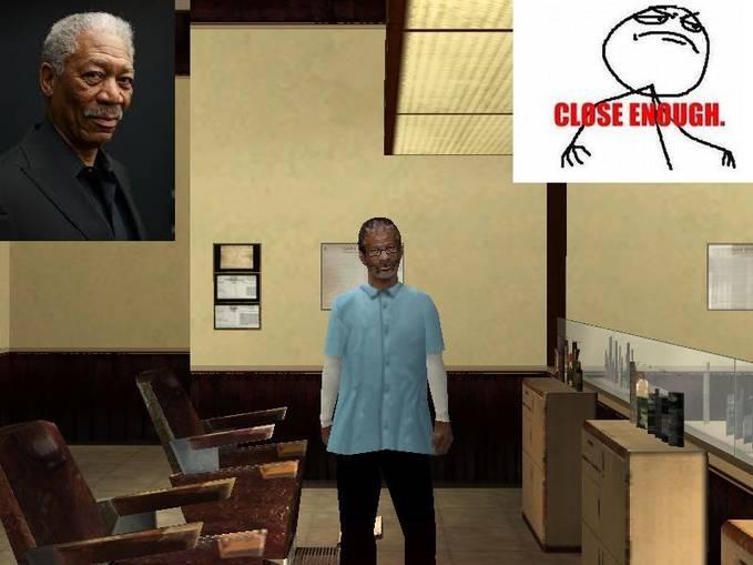 Telah ditemuakan Morgan Freeman di salah satu Barber shop di GTA San Andreas, tepatnya di Los Santos ( kota satu ). Kalo Menurut Kalian semua Mirip, WOW nya yaa....