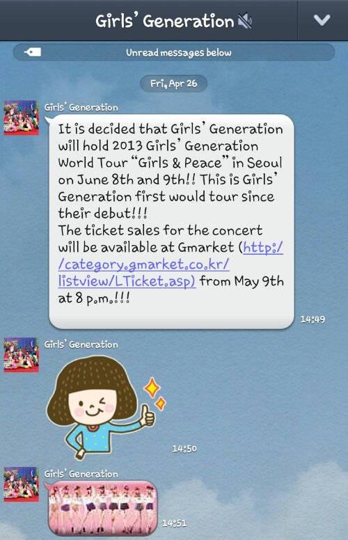 "SNSD Akan Mengadakan ""2013 Girls Generation SNSD World Tour , Girl And Peace"" . Tour dunia ini akan di laksanakan di stadium ""Gymnastic Olympic Park"" Seoul , Korea . Tanggal 8 dan 9 Juni 2013 ."