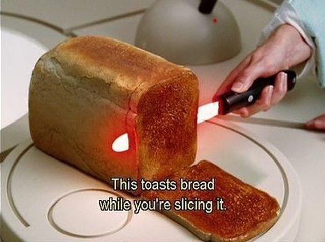 ini pisau yang bisa langsung memanggang rotinya mmm wow..... y...