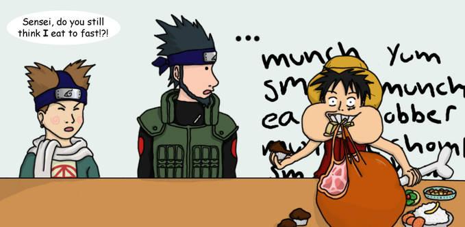 Hahaha.... Chouji kalah rakus dibandingin Luffy...