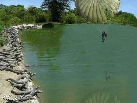 Ini Baru namanya Lelaki Tangguh... Abis Slamat dari Ledakan Pesawat dgn Parasut... Ehh ehh ehh malah mndarat di kolam buaya... Mana WoWnya nih pulsker buat sang penerjun payung...???
