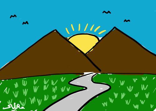 Budaya indonesia yang belum di patenkan, dari anak TK sampai Orang dewasa apabila disuruh menggambar gunung kebanyakan menggambar dua gunug seperti gambar di atas