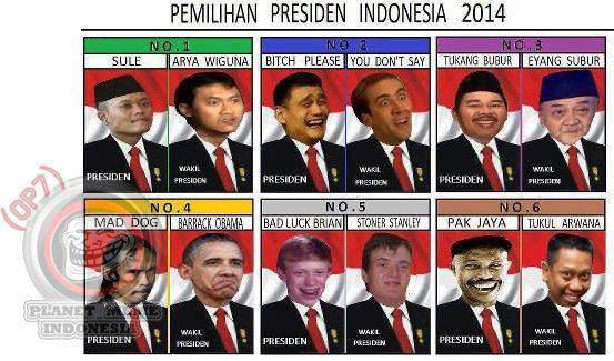 Pemilihan Prsesiden INDONESIA 2014 Kira-kira siapa yg paling banyak yah...(silakan tulis di Coment) Kalian Pilih Yg No Berapa ? Just for fun ^_^