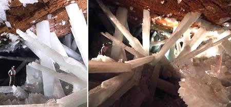 Crystal Cave of the Giants (Mexico, Amerika) Ditemukan jauh di dalam penambangan di selatan Chihuahua Mexico, kristal-kristal ini terbentuk pada gua alami yang dibatasi seluruhnya dengan bedrock. Dapat dijumpai kristal-kristal yg panjang.