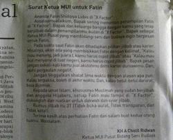 Surat KETUA MUI untuk Fatin Shidqia Lubis