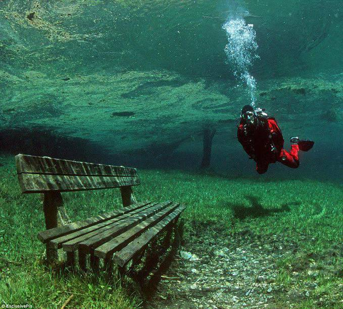 There is a place in Austria that is a dry park in the Winter, and a 10m deep lake in the summer!