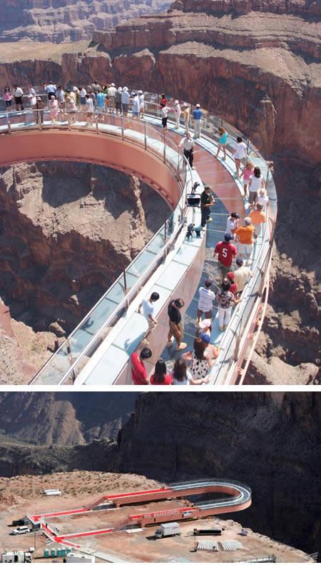 Platform menegangkan berbentuk tapal kuda ini bergantung tepat 4000 kaki di atas tanah dan memanjang 65 kaki dari ujung tebing Grand Canyon. Skywalk berbentuk tapal kuda ini dibangun dari tembok kaca setebal 4 inchi dan pengunjung diharuskan me