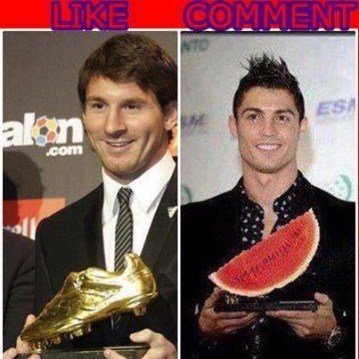 Messi : Sepatu Emas Eropa Ronaldo : Semangka Merah Pasar senen.. Just for fun !! WOW nya Donk..