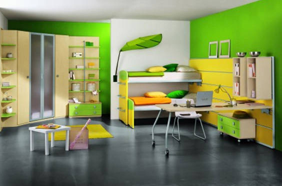 desain kamar ini cocok yang suka sama warna Dominan Hijau