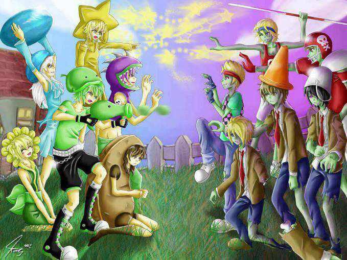 wow...plant vs zombie versi ANIME !!!!