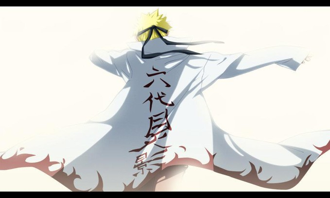Naruto wearing hokages suit (road to ninja)