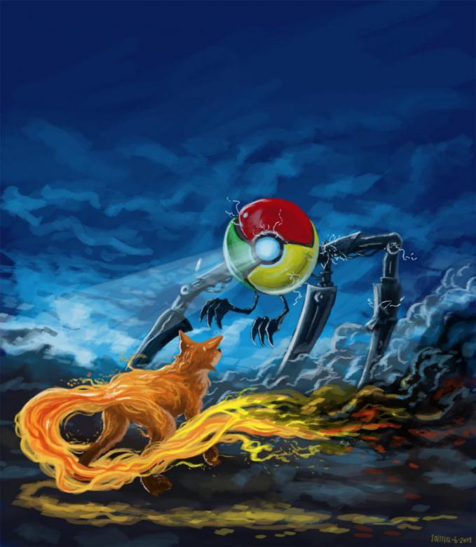 Animasi keren yang menggambarkan Google Chrome vs Mozilla Firefox!! Kalau sobat PULSKer pakai yang mana?