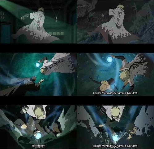 Naruto dan Minato dengan gaya yang sama. Minato menggunakan Rasengan saat behadapan dengan Tobi, sedangkan Naruto melawan Menma Uzumaki di Movie road to ninja.