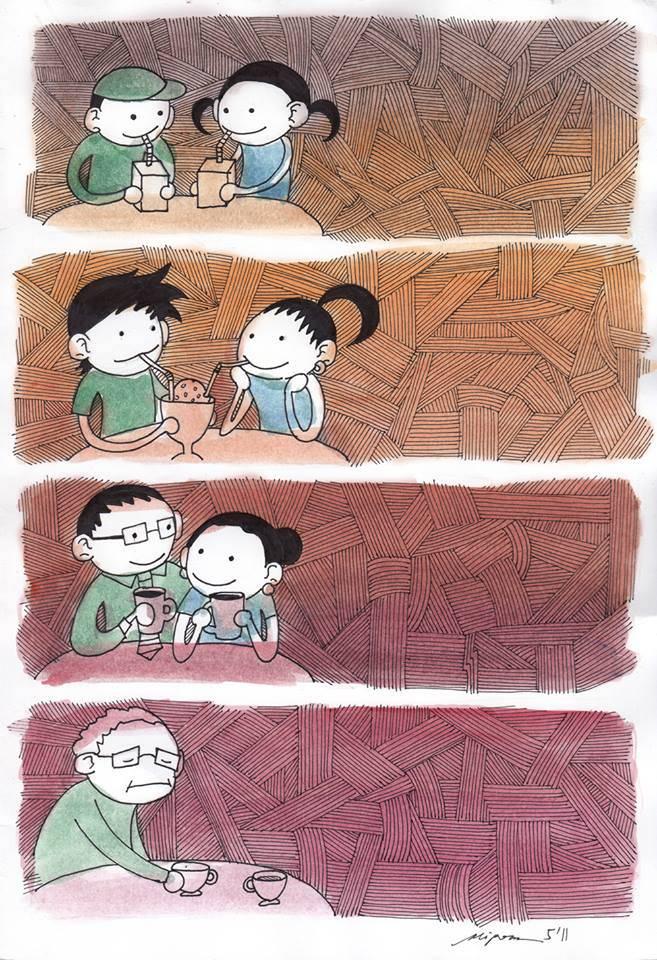 Dulu kita jajan bareng, dah tu dinner berdua, setelah itu ngopi dan ngeteh berdua. Sekarang aku sendiri tampa mu, i realy miss u :( :(