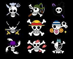 Berikut Lambang Lambang Dari Bendera ONE PIECE : Luffy : Yang Pake Topi Usop : Yang Hidungnya Mancung Franky : Yang Dagunya Lancip Robin : Yang Tangan Empat Sanji : Yang Koki ** Yang Lainya Lupa **