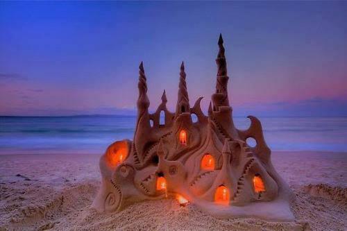 Illuminated Sand Castle, Noosa Beach, Australia