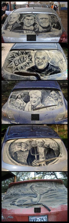 BERKREASI dengan menggunakan debu yang menempel pada kaca mobil.. kreatif ya gan..!! .. wow_nya ya