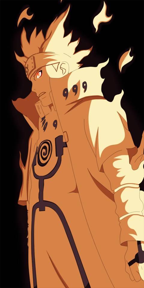 Minato Namikaze performs Bijuu Mode using the Half kuramas Chakra that was stored inside him