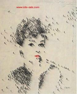 Nah kalau ini unik banget, ribuan orang yg membentuk seorang wanita cantik yang dilihat dari atas. kreatif ya. WoW !