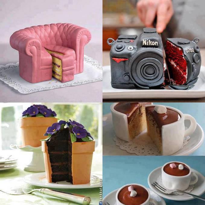 Kal0 di dunia kita terkenal dengan bantal berbentuk cupcake, guling berbentuk sosis. Kalau yang ini kebalikannya, Kue yang berbentuk sofa, kamera, pot bunga dan cangkir. Di pilih, di pilih, di pilih :D