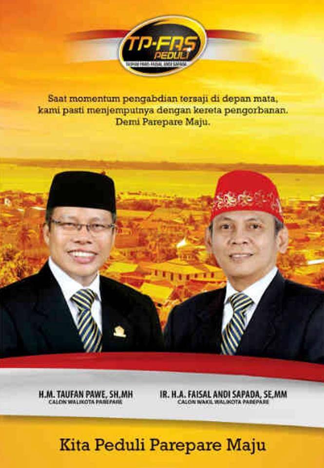 "PAREPARE -- Pasangan calon walikota dan wakil walikota Taufan Pawe "" Faisal Andi Sapada (TP FAS) untuk pilwalkot Parepare 2013-2018 siap adu program dengan kandidat lain demi kemajuan Parepare yang lebih baik. ""Ada sepuluh program prioritas"