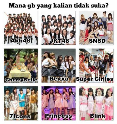 "maksudnya "" mana gb/idol group "" idolamu me : snsd,blink ,jkt48and akb48 you : no bully"
