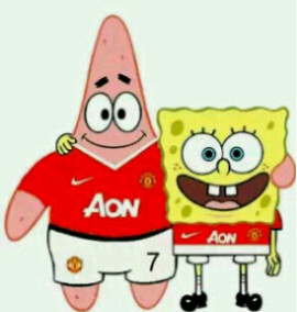 ternyeta spongebob dan patrick suka Manchaster United juga .... yg suka spongebob sama Manchaster United WOWnya Dong :)