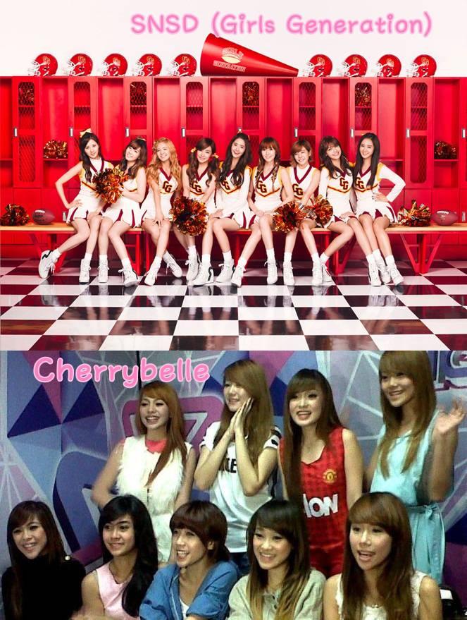 Kalian pilih yang mana ? atas = SNSD (Girls Generation) bawah = Cherrybelle Jangan lupa Wow nya ya~