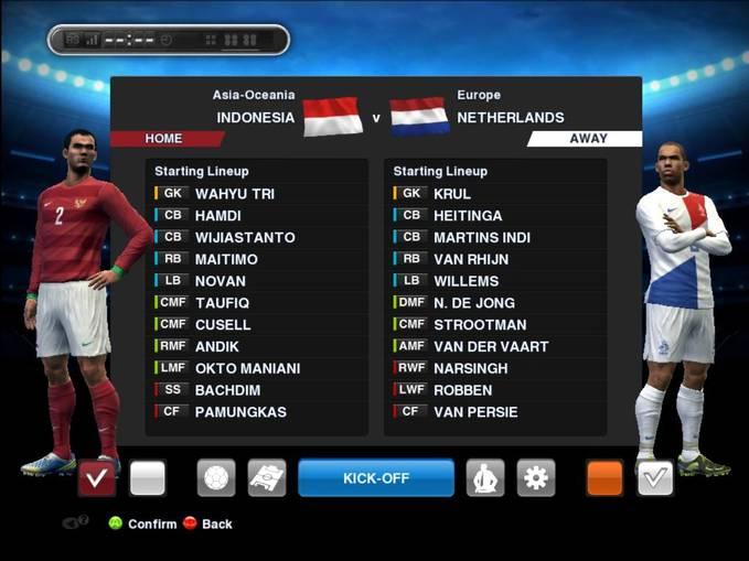 Indonesia VS Belanda dapat anda mainkan di PES 2013 jika Patch sudah di Update 3.8 (31 Mei 2013) Penilaian skill bukan dari editan orang Indonesia, tapi dari Konami itu sendiri...