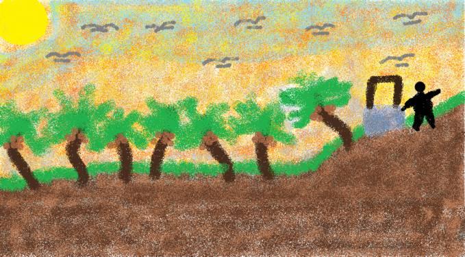 kisah seorang anak yang menemukan sebuah sumur di puncak gunung :D kasssih wow kalo lukisannya mantep di buat pake paint lohh