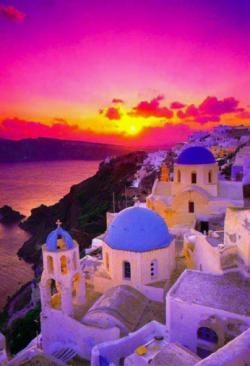Beautiful sunset at Santorini, Greece