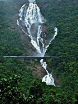 View of Konkan Railway and Dudhsagar Waterfalls. India