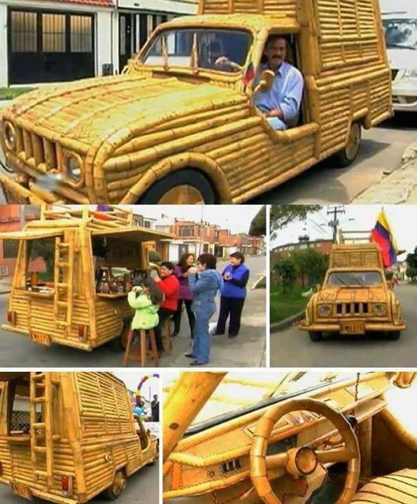 wowww, mobil unik berbody bambu.