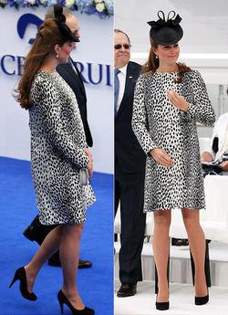 Ada yang beda dengan penampilan Kate Middleton. Wanita yang biasa tampil anggun ini tampak lebih berani saat muncul di Southampton Docks pada Jumat (14/6). Kenapa kira-kira? Rupanya kesan itu muncul gara-gara busana yang dikenakan Kate dalam kesempatan itu. Bagaimana tidak, dia mengenakan mantel bermotif kulit Dalmatian yang warnanya putih bertotol hitam. Rupanya busana itu memberi kenyamanan tersendiri pada Kate. Dengan usia kehamilannya yang semakin tua, tentunya mantel yang simpel seperti itu akan membantu mobilitasnya. Sebuah topi warna hitam juga menjadi perhatian publik. Hiasan kepala nan cantik itu bertengger anggun di atas rambut kecoklatan yang terurai sebagian. Namun alas kaki yang dikenakan istri Pangeran William itu justru mendapat perhatian tersendiri. Walau akan melahirkan bulan Juli mendatang, namun Duchess of Cambridge sepertinya belum bisa meninggalkan sepatu hak tingginya.